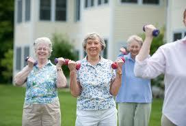 elderly people using weights
