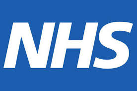 This image shows a blue background with NHS in white