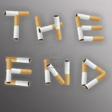 this image shows the words THE END made of of cigarettes