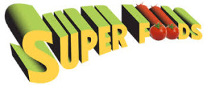 this image shows the words superfoods in the shape of the superman wording and has two tomatoes as the oo's !