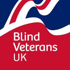 this image shows a flag style pattern and the wording Blind Veterans UK