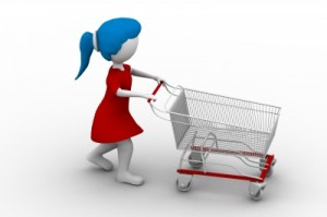 woman in a red dress with blue hair pushing an empty shopping trolley