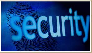 this image shows the word security in blue on a dark background