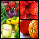 veg and strawberries and oranges