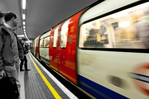 a tube train moving at speed