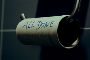 an empty toilet roll which the words All Done