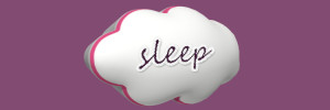 a white cloud with the word sleep on it . Purple background