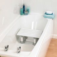 a bath seat situated in rather than on the bath