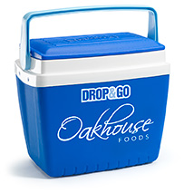 A blue cooler box from Oakhouse foods