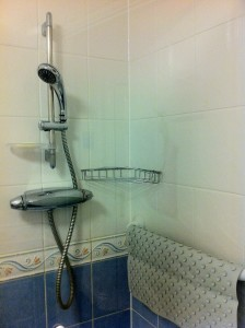 a shower cubicle and shower