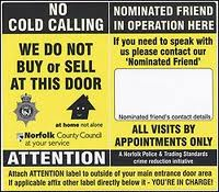 a sticker for the elderly stating no cold callers