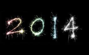 2014 in a sparkler effect on a black background