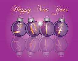 2014 baubles in purple on a purple background