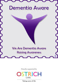 this picture shows a purple angel logo which is the global sign for dementia