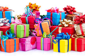 this image shows piles of brightly wrapped gifts