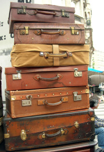 A  pile of vintage suitcases