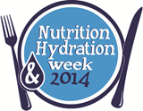 this image shows a plate with a knife and fork to the side and the words nutrition and hydration week