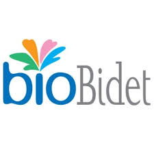 this image shows the words bio in blue and bidet in grey and a flower shape coming out of the i of Bio.