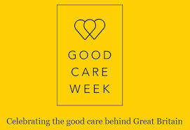 this image shows a yellow page with two hearts entwined and the words GOOD CARE WEEK