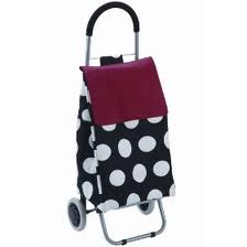 this picture shows a spotted shopping trolley in black and white with a pull along handle