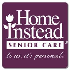 This image shows a purple background with the words home instead in white on it . The wording also says senior care to us it's personal