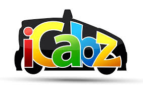 this image shows the shape of a black cab and the words Icabz in coloured writing.