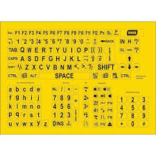 this image shows a yellow square containing stickers for computer keyboards