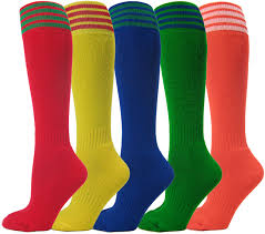 this image shows 5 different coloured pairs of socks