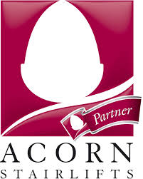 this image shows the company logo for Acorn Stairlifts which is an acorn in white on a purple background