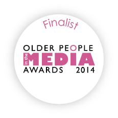 this image shows a badge saying Finalist Older People in the Media Awards