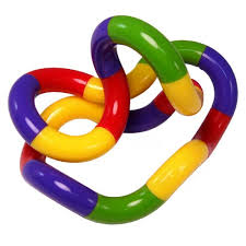 this image shows a multi-coloured tangle toy which is a continuous loop of plastic pieces that twist and bend and provide activity for restless fingers.
