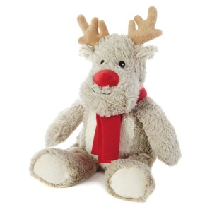 this image shows a gorgeous wheat hot water bottle in the shape of a reindeer