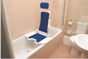 This shows a bath seat with a blue liner for clarity. It is one of the models that allows an elderly person to sit right in the bath