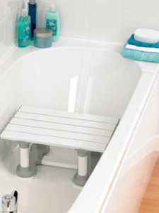 This shows a slatted bath seat with suction pads