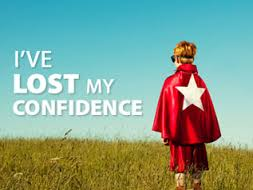 """this image shows young boy in a superhero outfit ant the words """"I've lost my confidence"""""""
