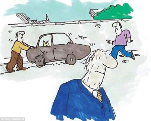 We had no choice, Dad. You were a liability on the roads.  'Quick give me a hand … that old guy's left his handbrake off!'  Read more: http://www.dailymail.co.uk/health/article-2623800/The-saddest-goodbye-Endless-words-written-dementia-But-ANY-match-poignancy-cartoonist-Tony-Husbands-account-watching-steal-away-father.html#ixzz3OivgX4LM  Follow us: @MailOnline on Twitter | DailyMail on Facebook
