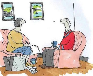 this image is a cartoon, part of the series the saddest goodbye by Tony Husband