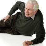 this images shows an elderly gentleman on the floor having fallen.