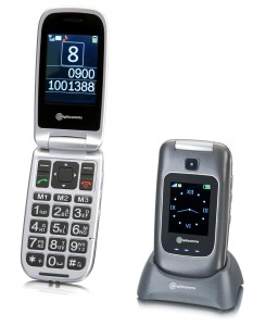 this shows a clam style phone with big buttons