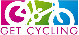 this image shows the Get Cycling logo of a bike with a purple green and blue background