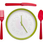 this image shows a knife fork and spoon around a clock
