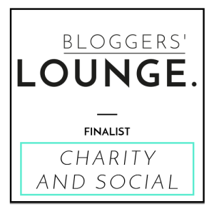 this image shows a box containing the word Bloggers Lounge and says Finalist Charity and Social