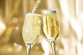 This image shows two glasses of champagne
