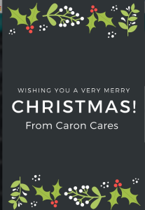 this image shows a Happy Christmas message from Caron Cares