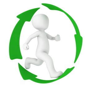 this image shows a white figure in a hoop of 3 green arrows