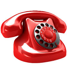 this image shows a red telephone