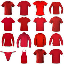 this image shows a collection of red clothes