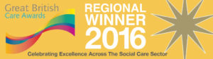 this image shows that I was a winner at the Great British Care Awards in the Regional finals for the South West.
