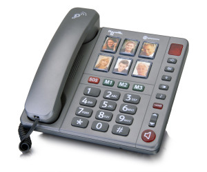 this image shows a large button telephone in grey