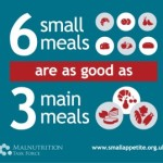 this image shows a poster advocating giving elderly people 6 small meals over 3 large ones per day